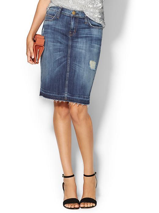 current elliott distressed denim pencil skirt in blue
