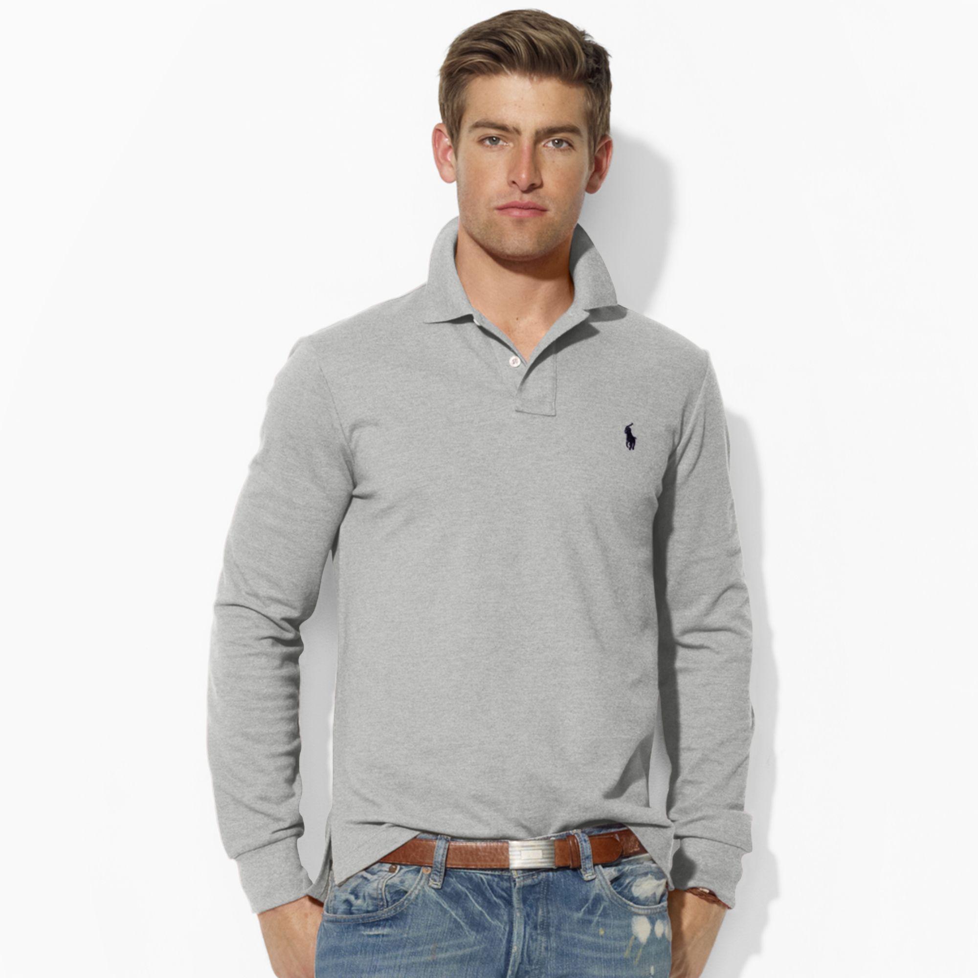 Polo Ralph Lauren. Gray Custom-fit Long-sleeved Polo