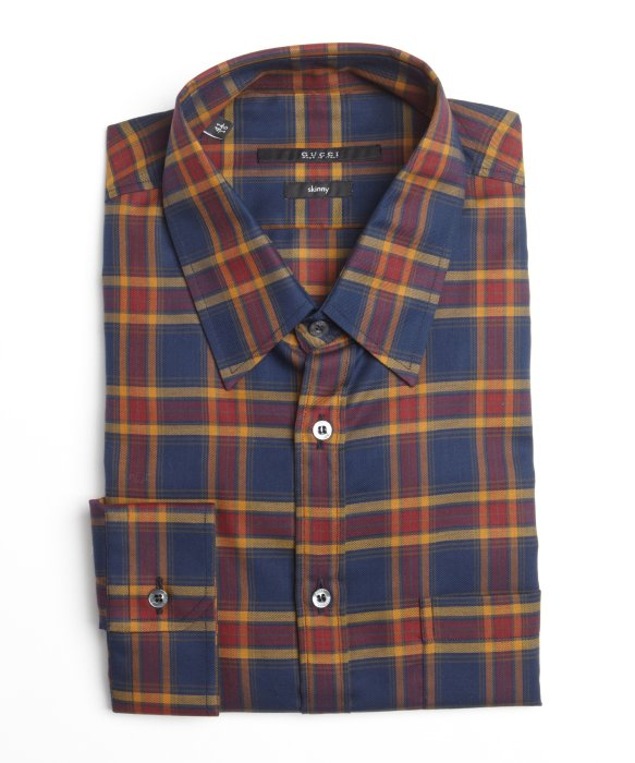 Gucci Navy And Orange Plaid Cotton Button Front Shirt In