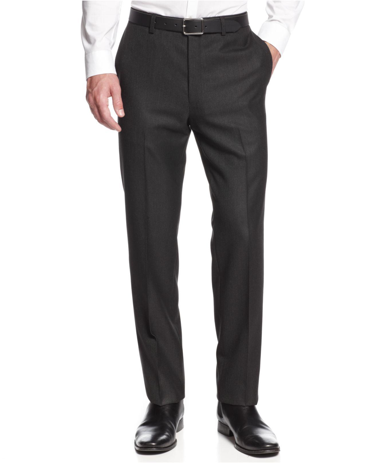 Lyst calvin klein x charcoal pindot slim fit dress pants for Calvin klein x fit dress shirt