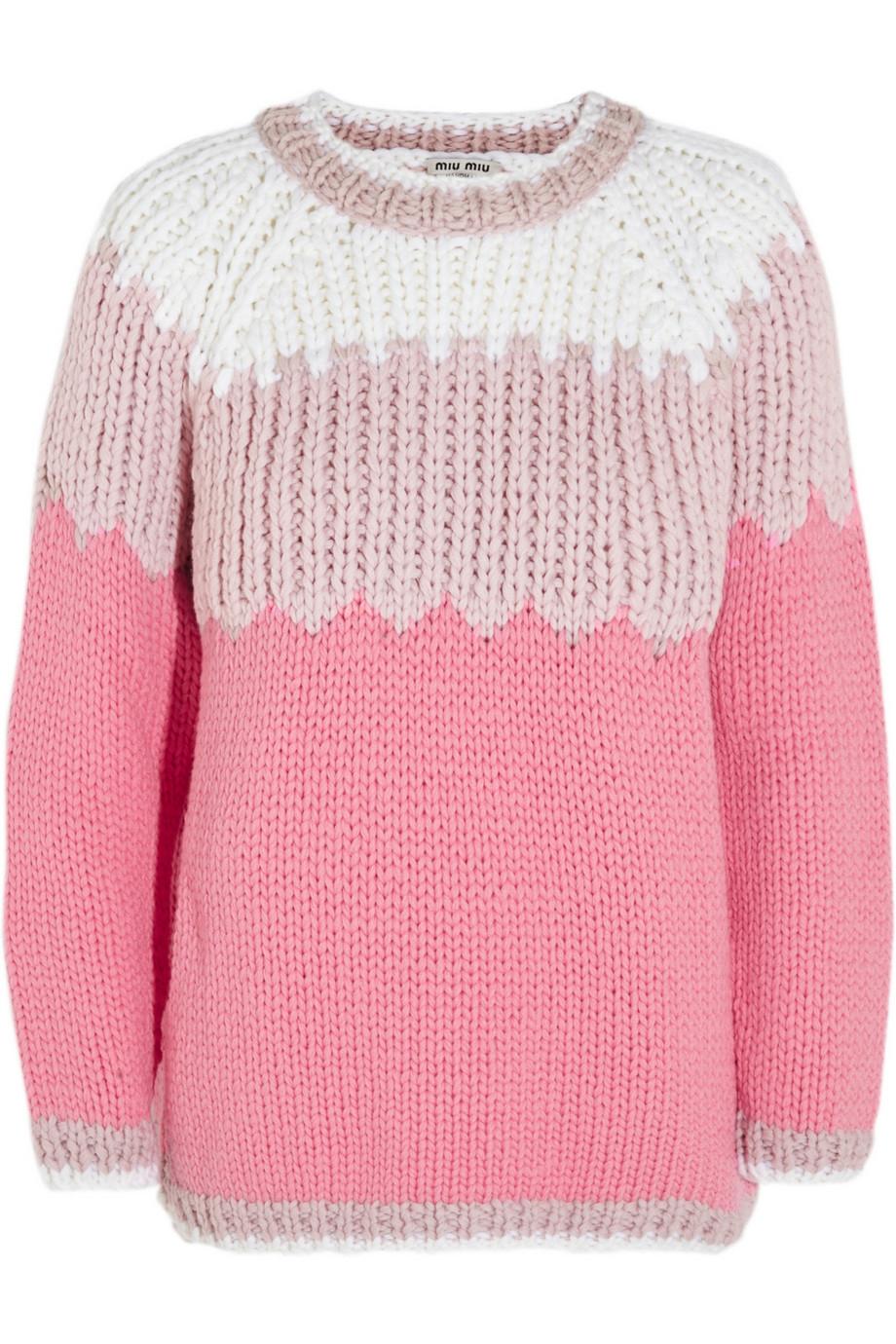 miu miu chunkyknit wool sweater in pink lyst