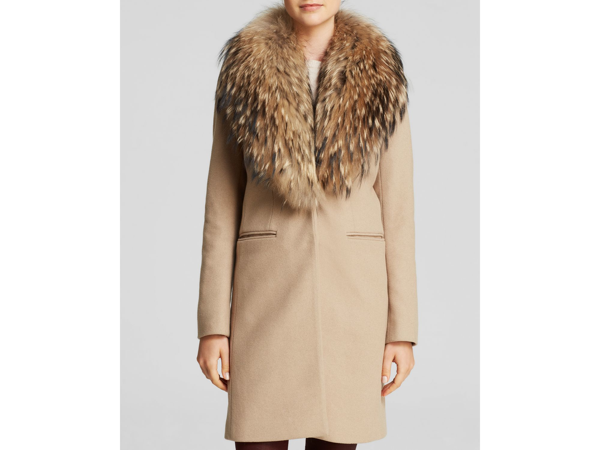 Sam. Crosby Wool Coat With Fur Trim in Brown | Lyst