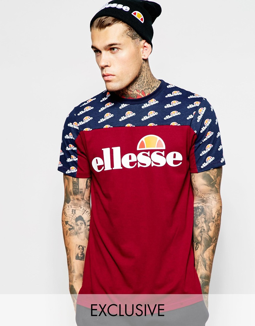 33486254 Ellesse Purple Panel T-shirt With Repeat Print for men
