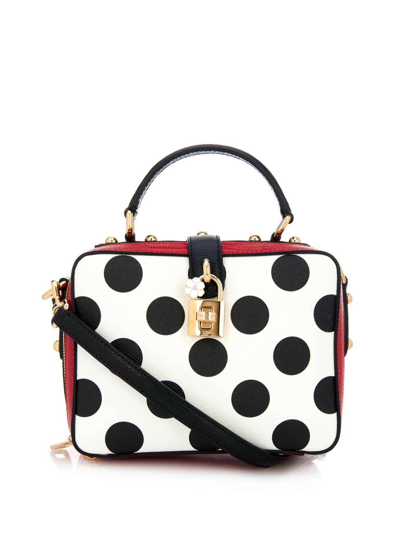b539bdec647 Dolce   Gabbana Rosaria Polka-Dot Cross-Body Bag in Black - Lyst