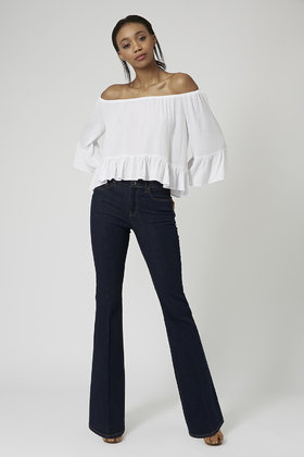174a537ac72cb Lyst - TOPSHOP Crinkle Off Shoulder Bardot Top in White