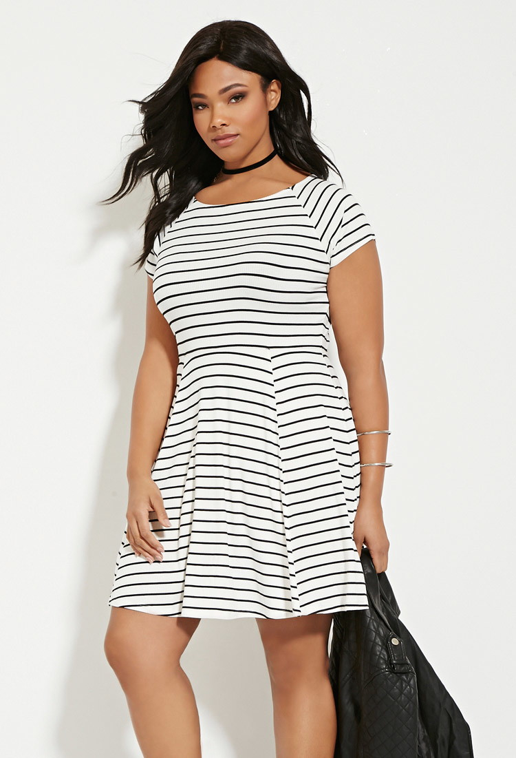 Plus Size Stripe Smock Dress