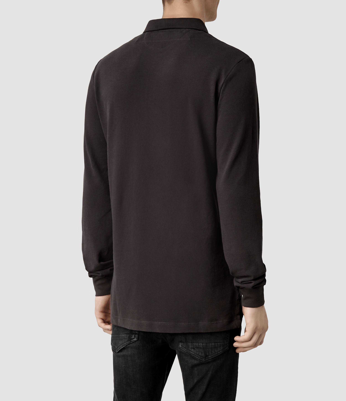 Allsaints sandringham long sleeved polo t shirt in purple for Long sleeve purple polo shirt