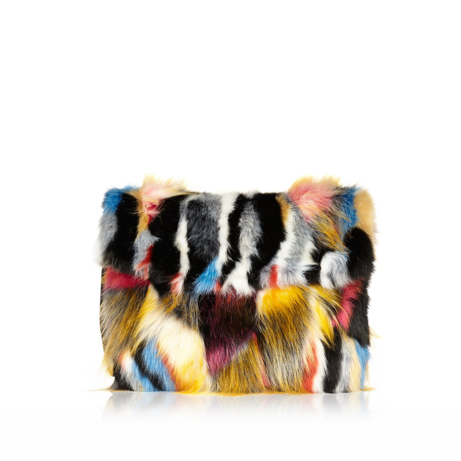 River Island Mixed Faux Fur Clutch Bag In Black Lyst Detailed Pictures C71e6 Cfb64