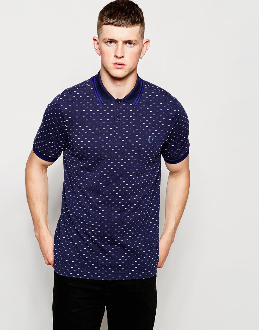 Fred Perry Slimfit Polkadot Polo Shirt in Blue for Men - Lyst