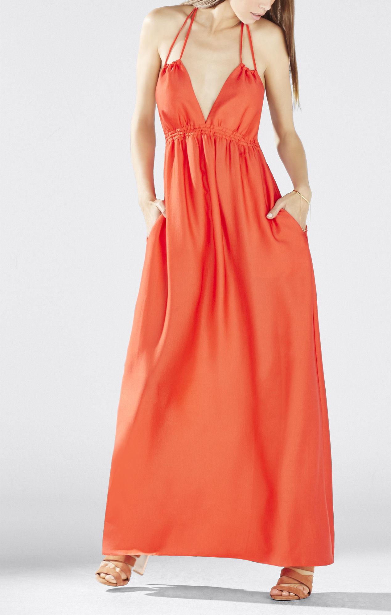 Red poppy maxi dress