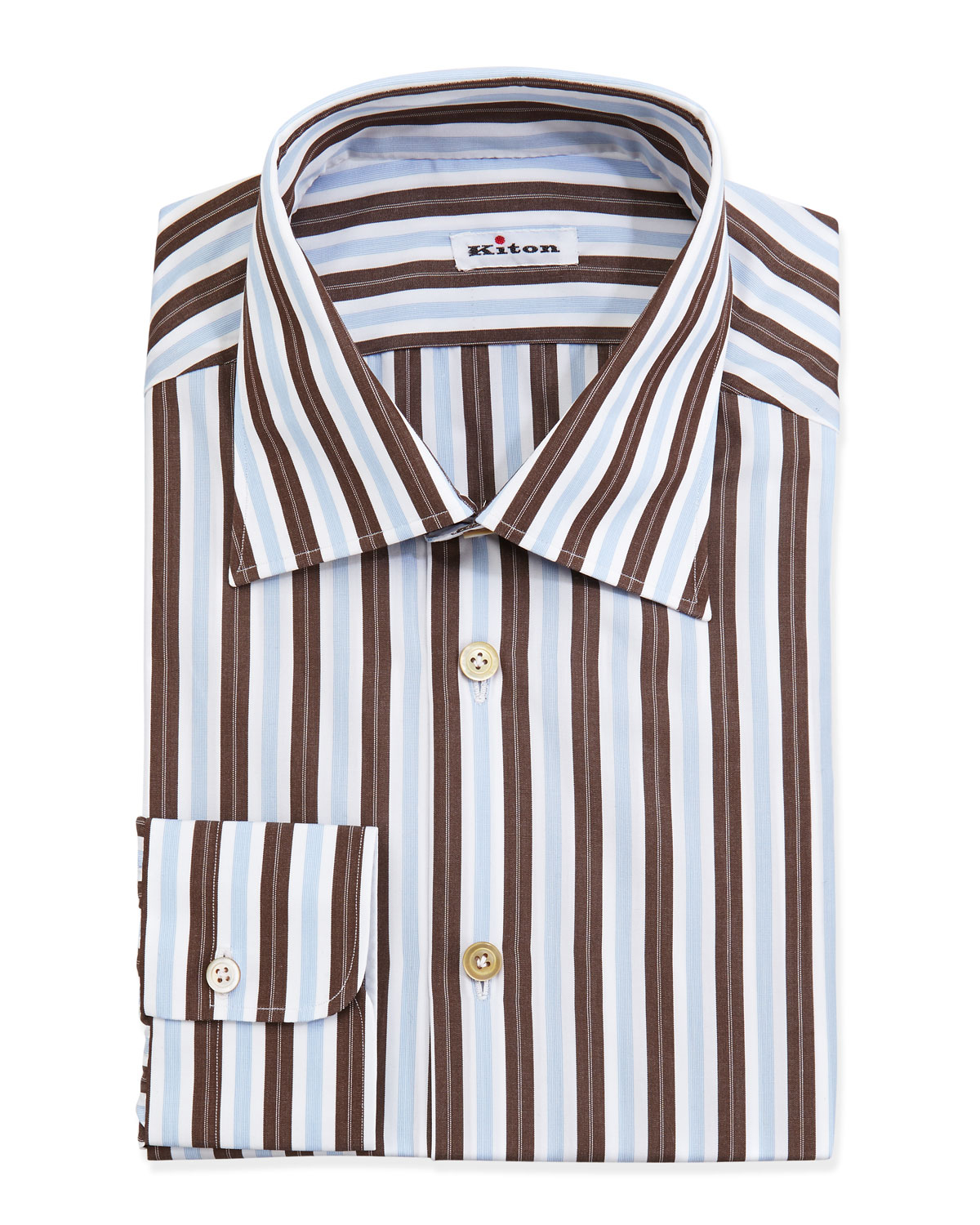 Lyst Kiton Woven Striped Dress Shirt Brown In Brown For Men