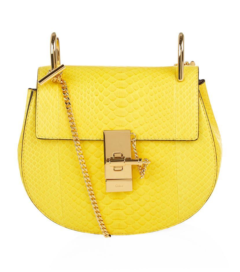 50bb1950 Chloé Yellow Mini Drew Python Shoulder Bag