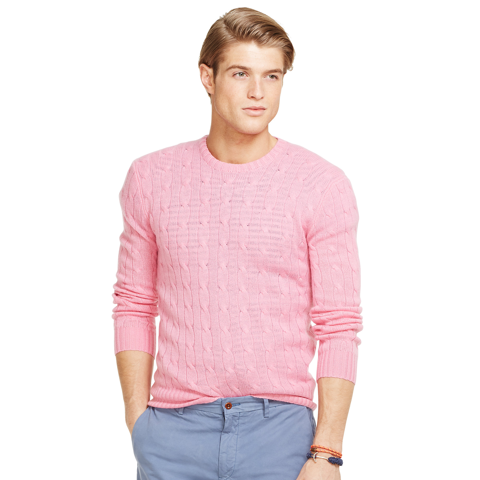 Lyst Polo Ralph Lauren Cable Knit Cashmere Sweater In Pink For Men