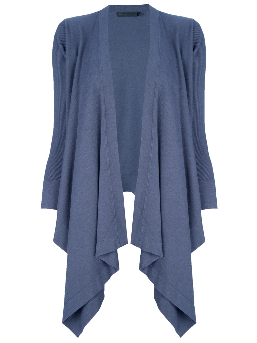 Donna karan Curtained Waterfall Cardigan in Blue | Lyst