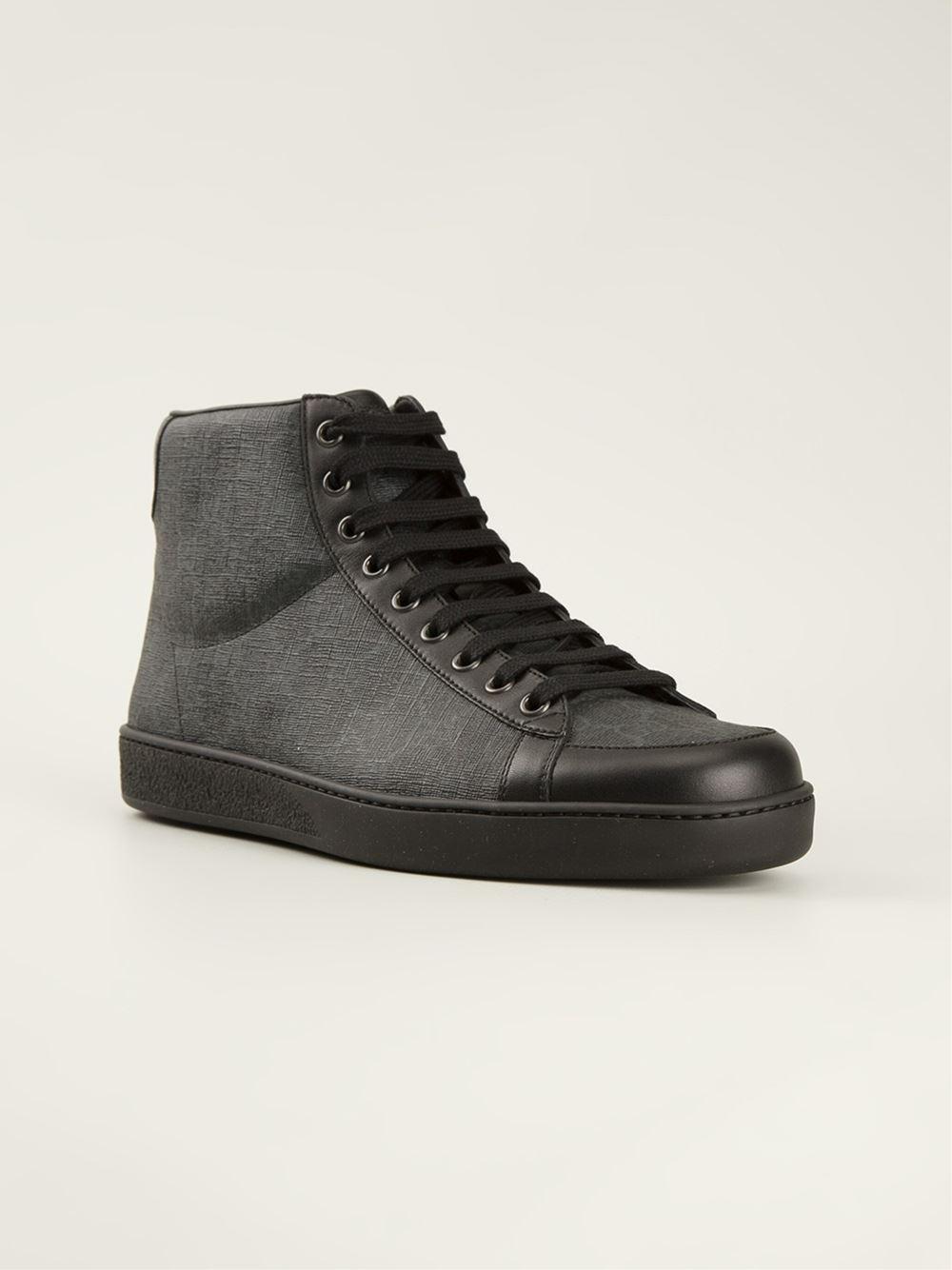 4e0f76e9f84f Lyst - Gucci Hi-Top Trainers in Black for Men