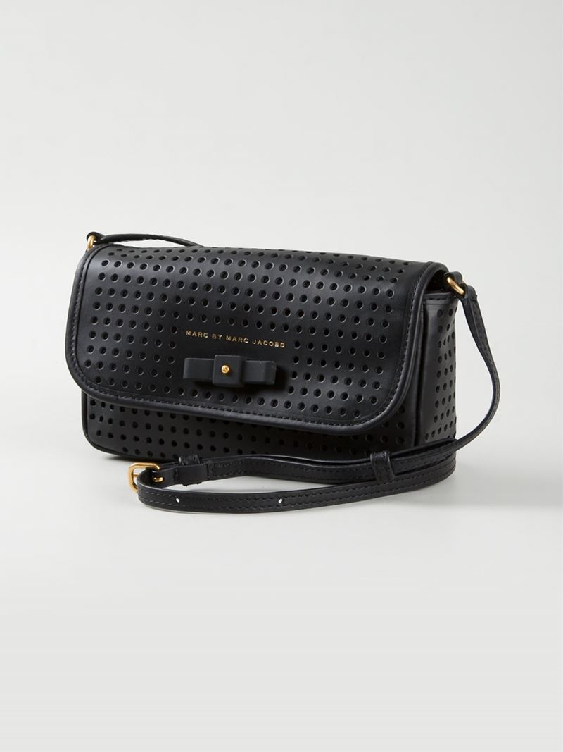 Marc By Marc Jacobs Sophisticato Perforated Monica Bow Cross-Body Bag in Black