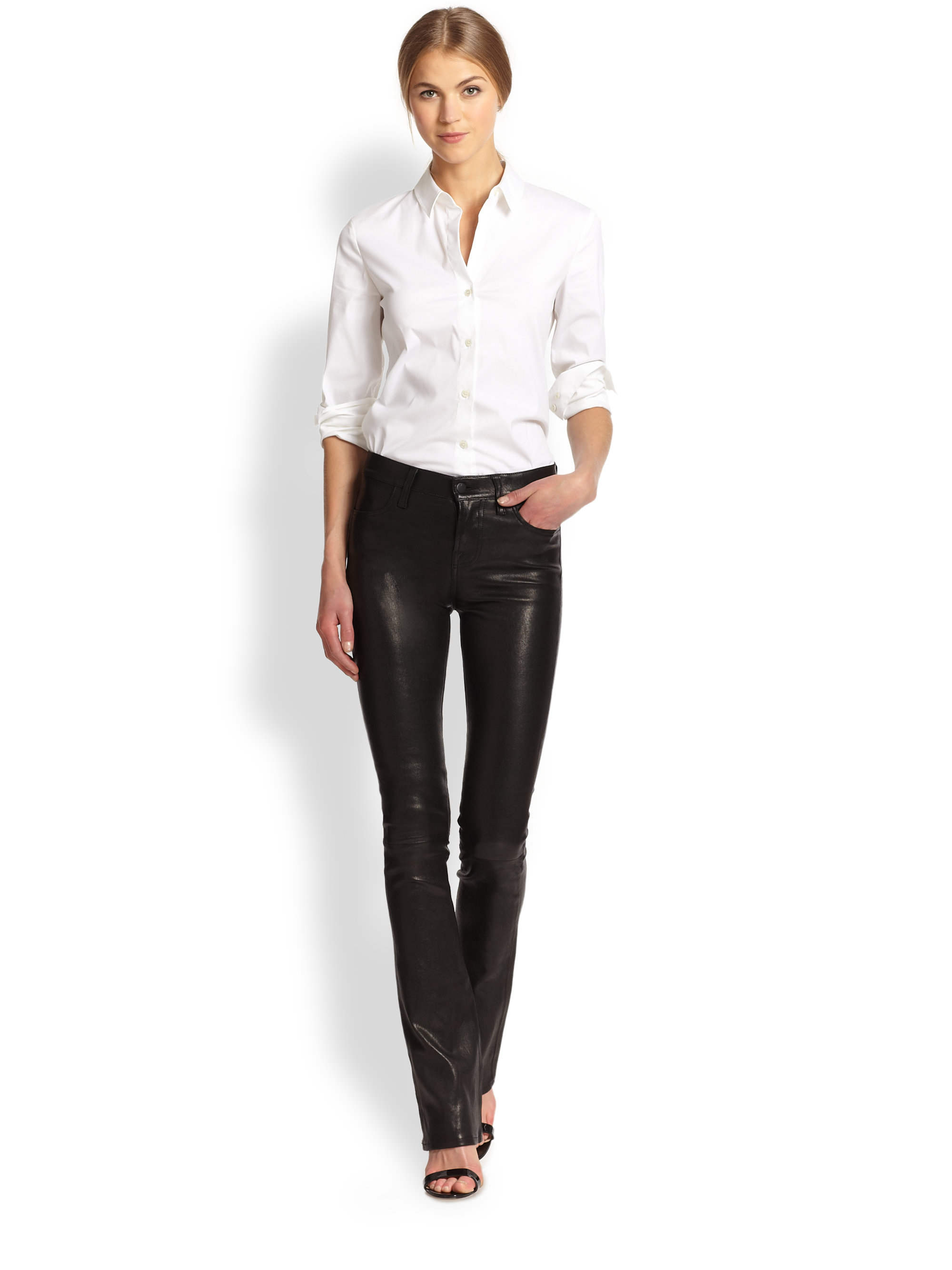 J brand Remy Leather Bootcut Jeans in Black   Lyst