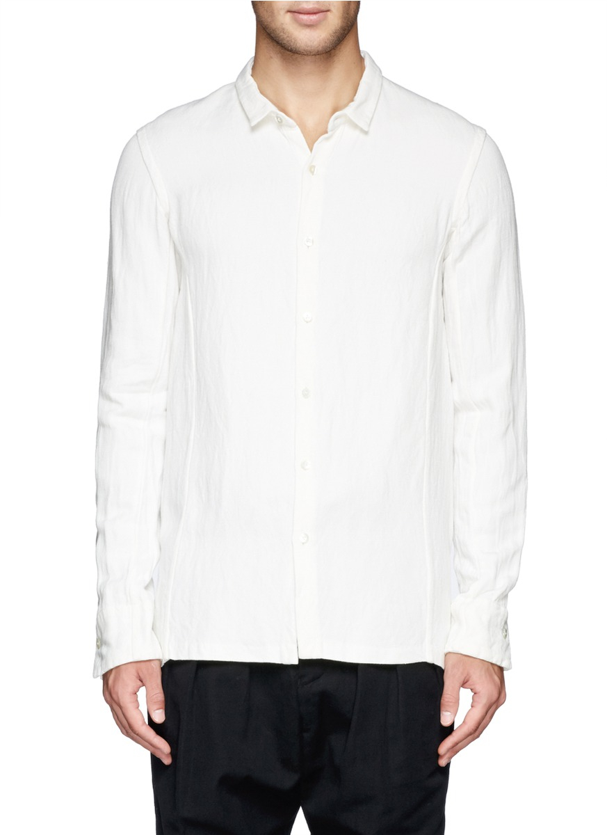 Lyst the viridi anne bamboo linen twill shirt in white for Bamboo button down shirts