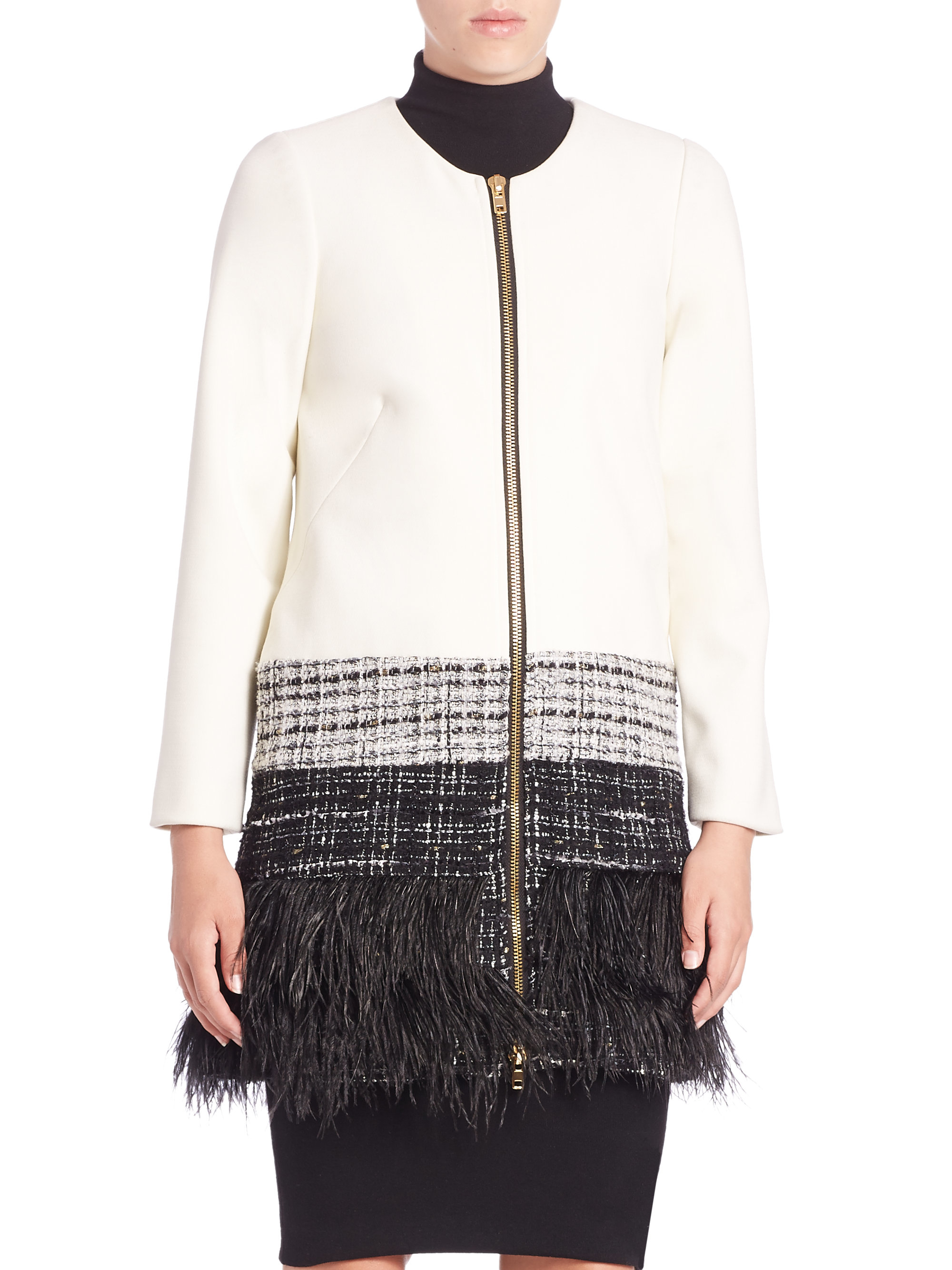 Lyst Milly Cady Feather Trim Jacket In White