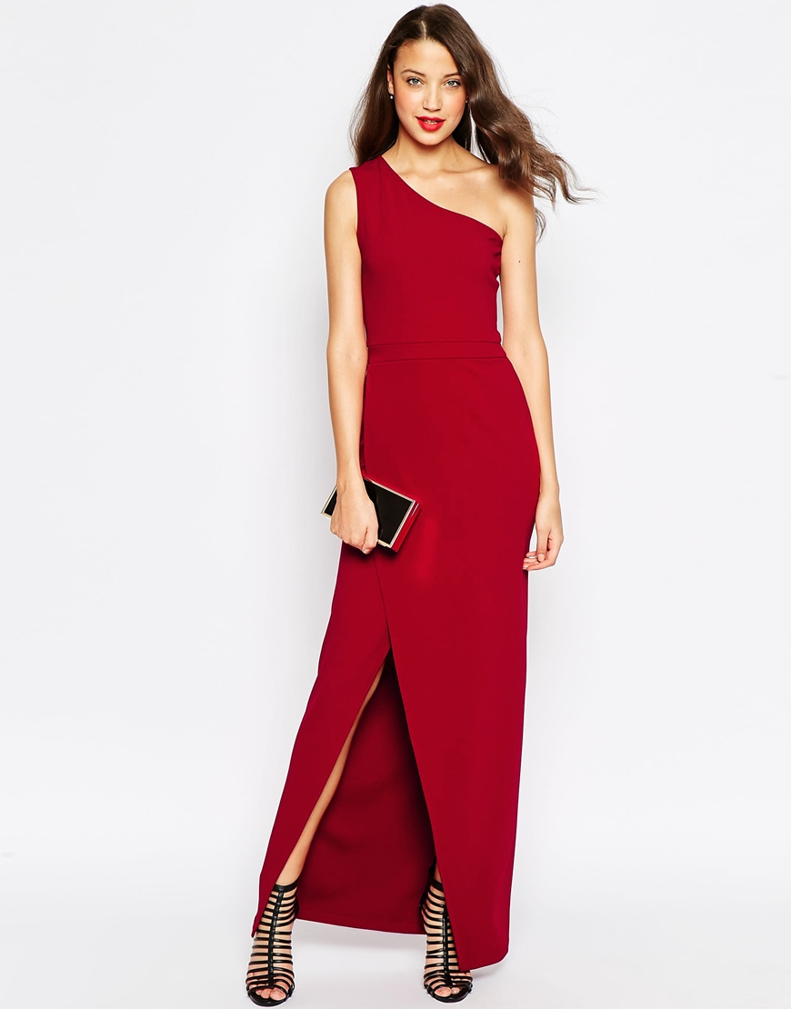 Asos Tall Red Carpet One Shoulder Maxi Dress in Black - Lyst