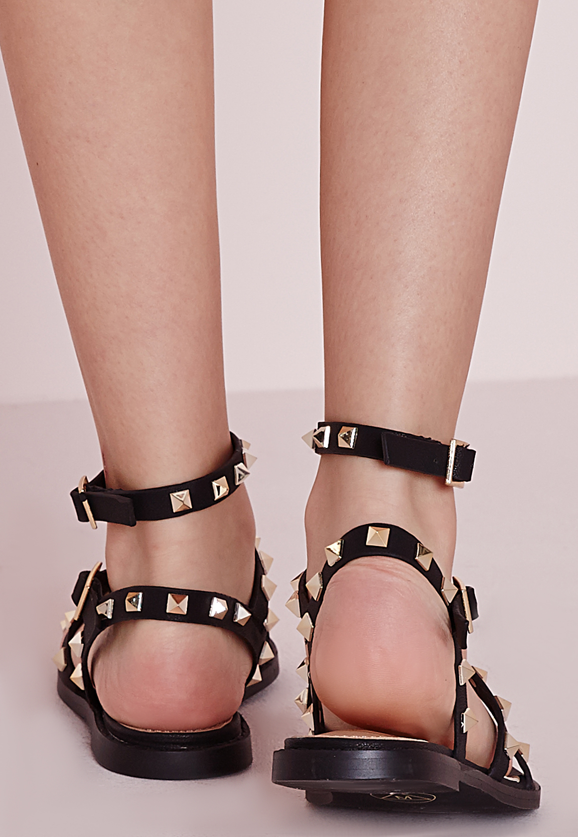 Missguided Studded Flat Gladiator Sandals Black In Black