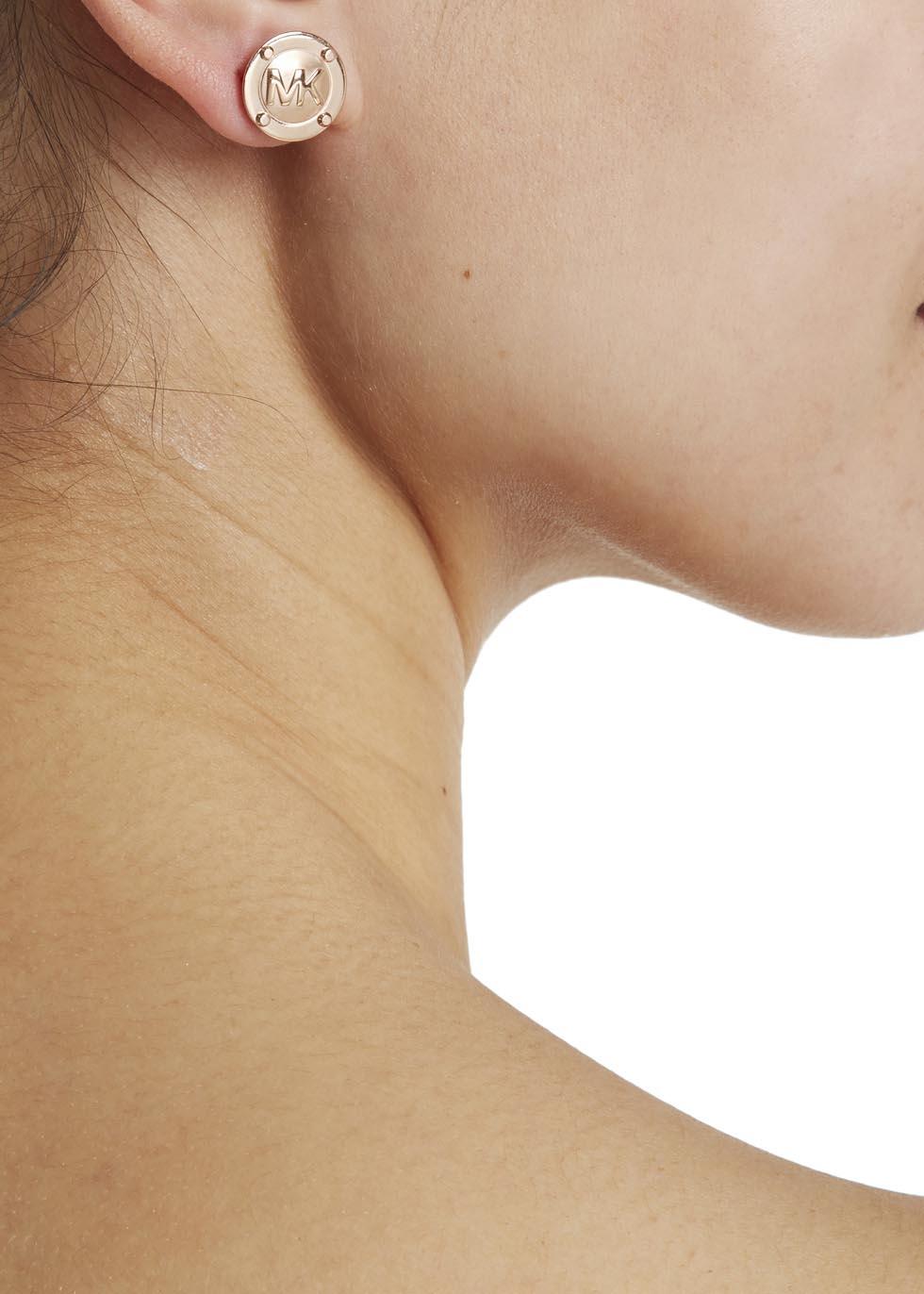 1d90e6a74b21 Michael Kors Rose Gold Tone Logo Stud Earrings in Metallic - Lyst