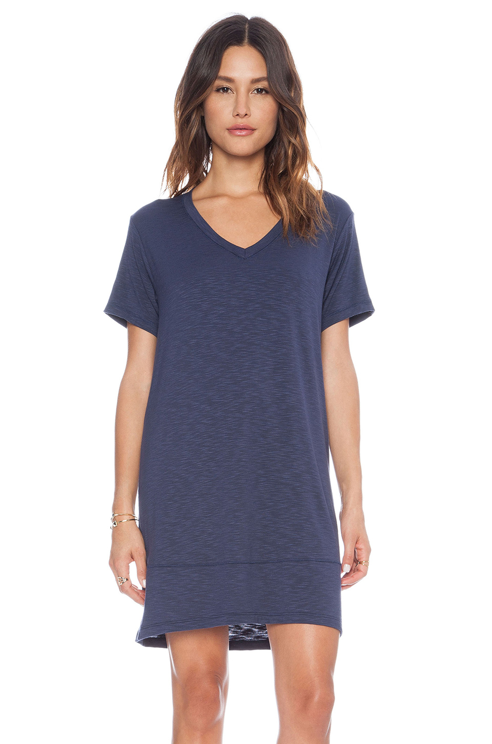 dolan v neck t shirt dress in blue lyst