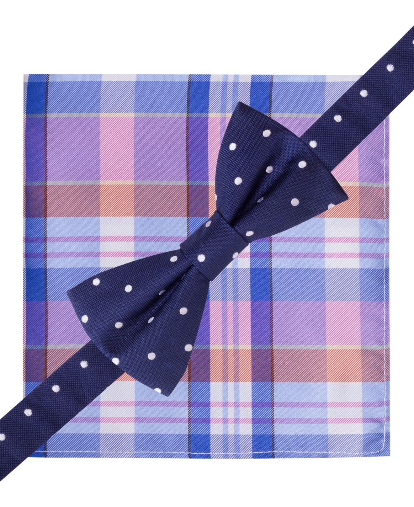 bf5c28cd7ac0 Tommy Hilfiger Dot Bow Tie Madras Pocket Square Set in Blue for Men ...