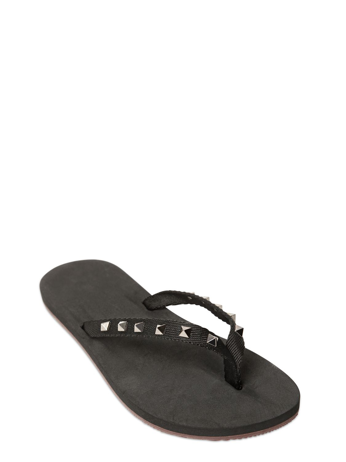 Valentino Studded Rubber Flip Flops In Black - Lyst-1750