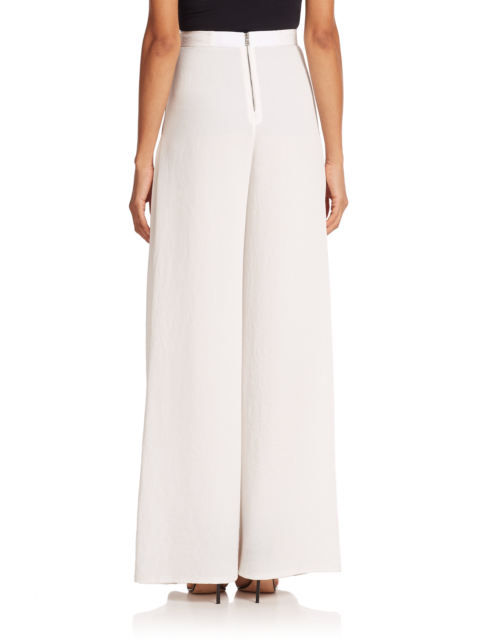 Alice   olivia Pleated-pocket Wide-leg Pants in White | Lyst