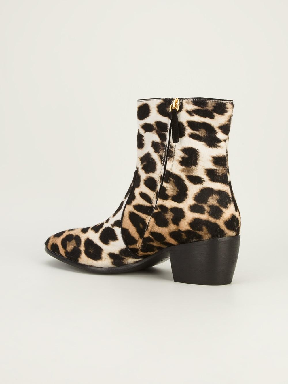 Giuseppe zanotti Leopard Print Ankle Boots in Beige for ...