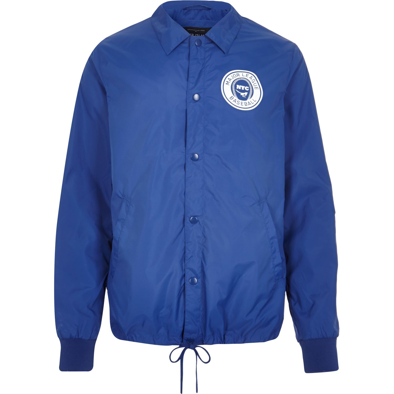 River island Blue Nylon Nyc Baseball Coach Jacket in Blue for Men ...