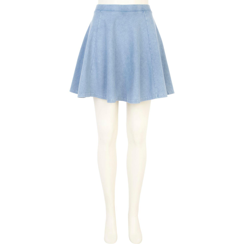 river island light blue acid wash skater skirt in blue lyst