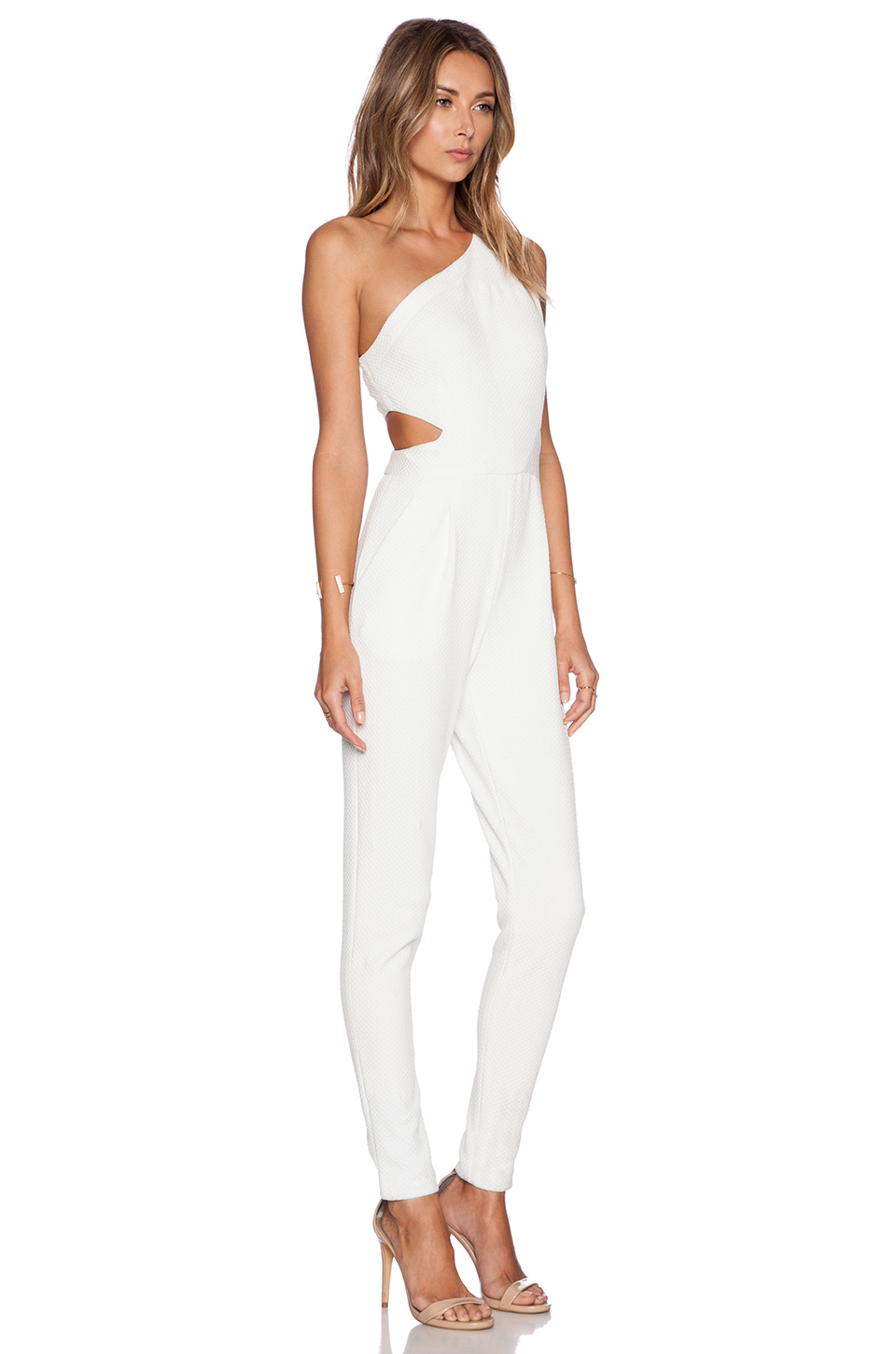 bell jumpsuit in white lyst