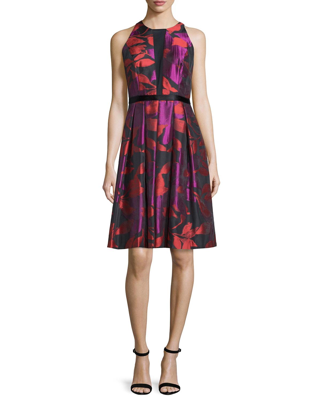 Carmen Marc Valvo Sleeveless Floral Print Cocktail Dress