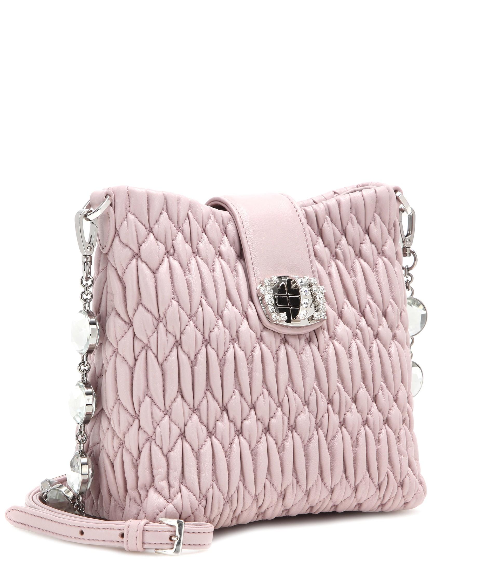 ffe334168096 miu miu outlet singapore - Miu miu Matelass¨¦ Leather Shoulder Bag in Pink (