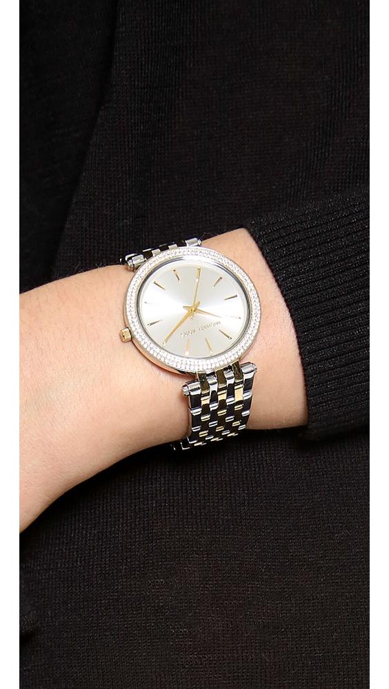 99aba644fb96 Lyst - Michael Kors Darci Pave Two Tone Watch in Metallic