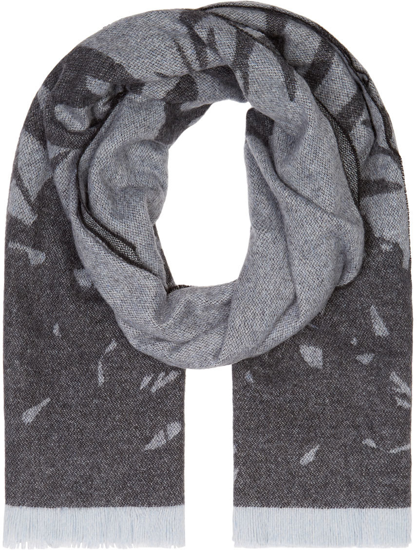 Mcq Blue And Grey Wool Swallow Scarf in Blue for Men | Lyst