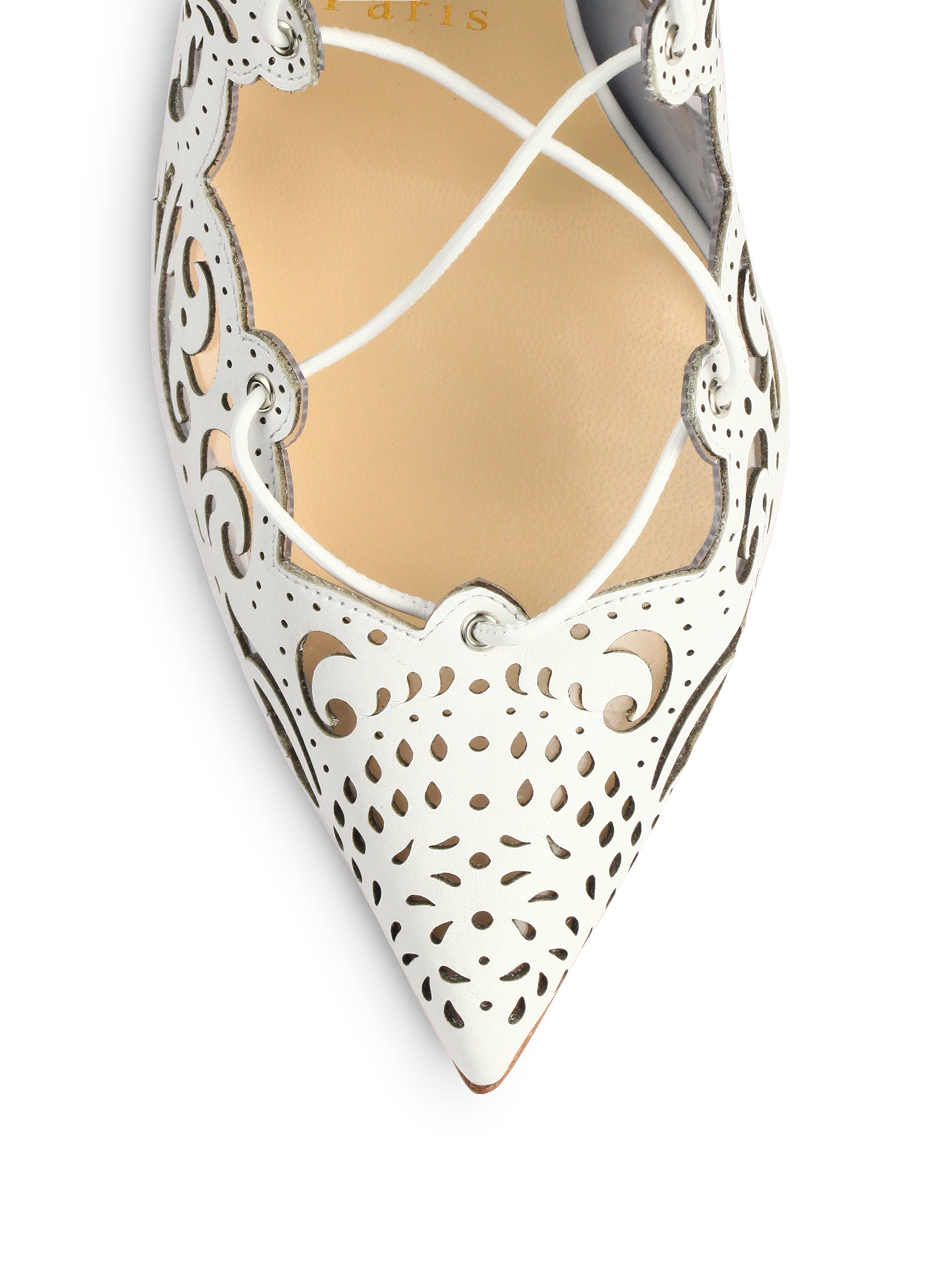 Christian louboutin Impera Lasercut Leather Pumps in White | Lyst