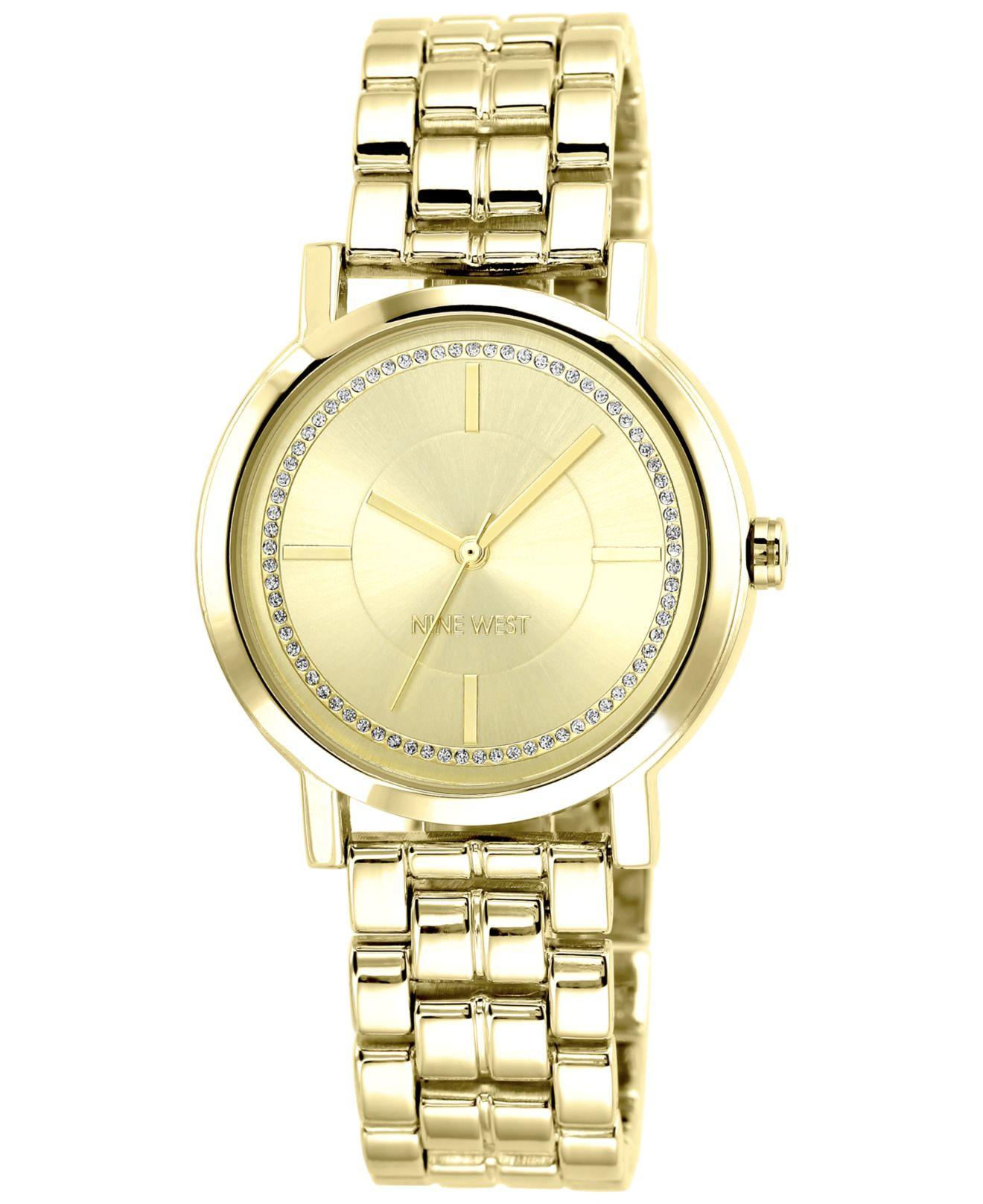 nine west s gold tone adjustable bracelet 38mm
