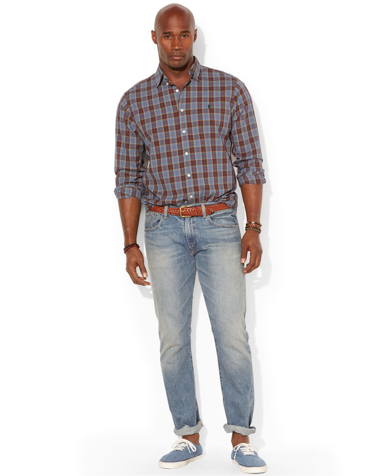Lyst polo ralph lauren big and tall long sleeve plaid for Big and tall oxford shirts