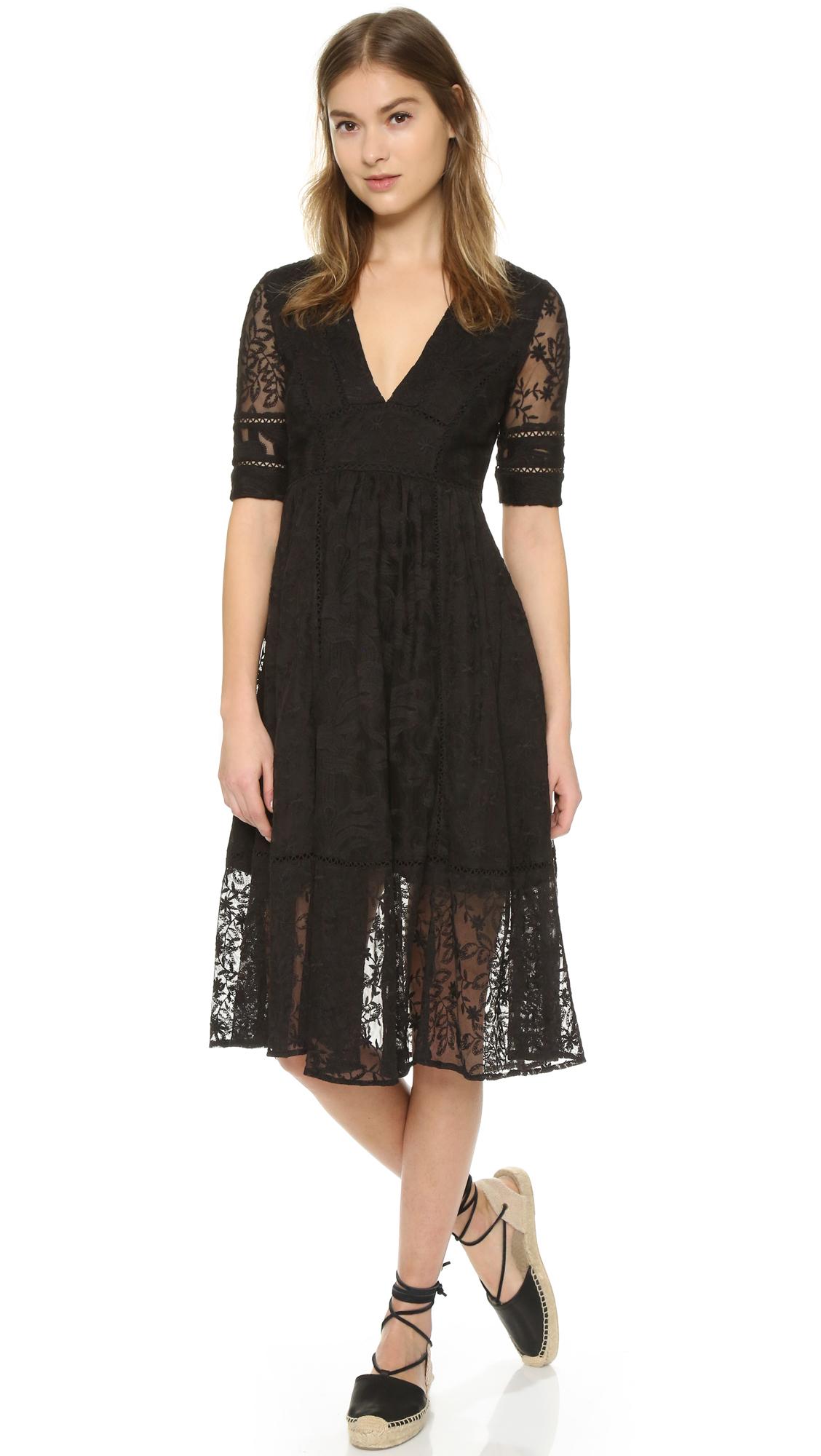 Lyst Free People Laurel Lace Dress In Black