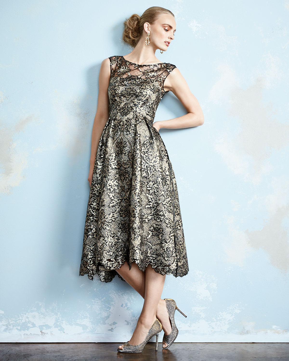 Lyst Kay Unger Sleeveless Lace Tea Length Tail Dress In Metallic 78193a0e4