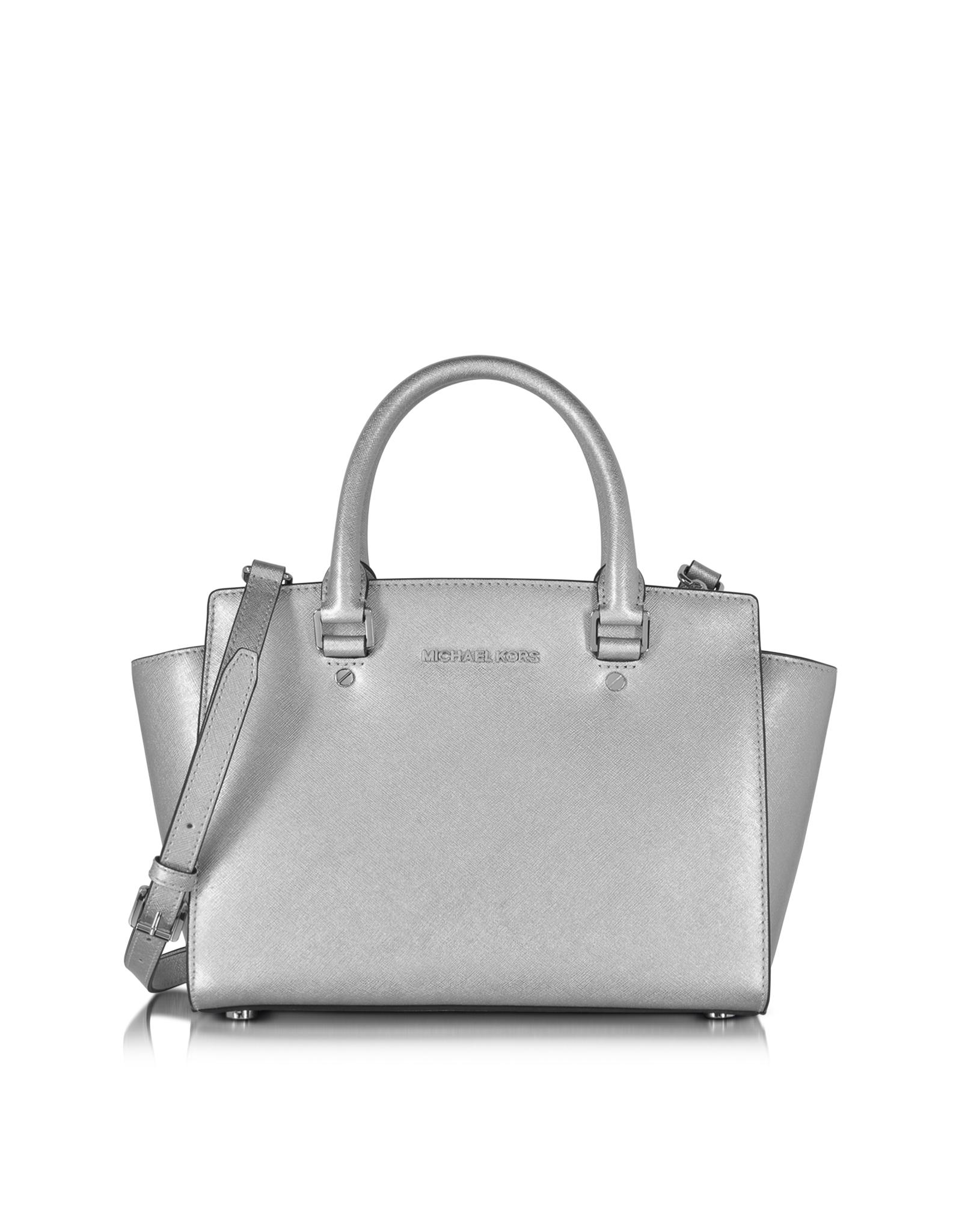 bccb270bca6a1f Michael Kors Selma Saffiano Leather Medium Satchel Bag in Metallic ...