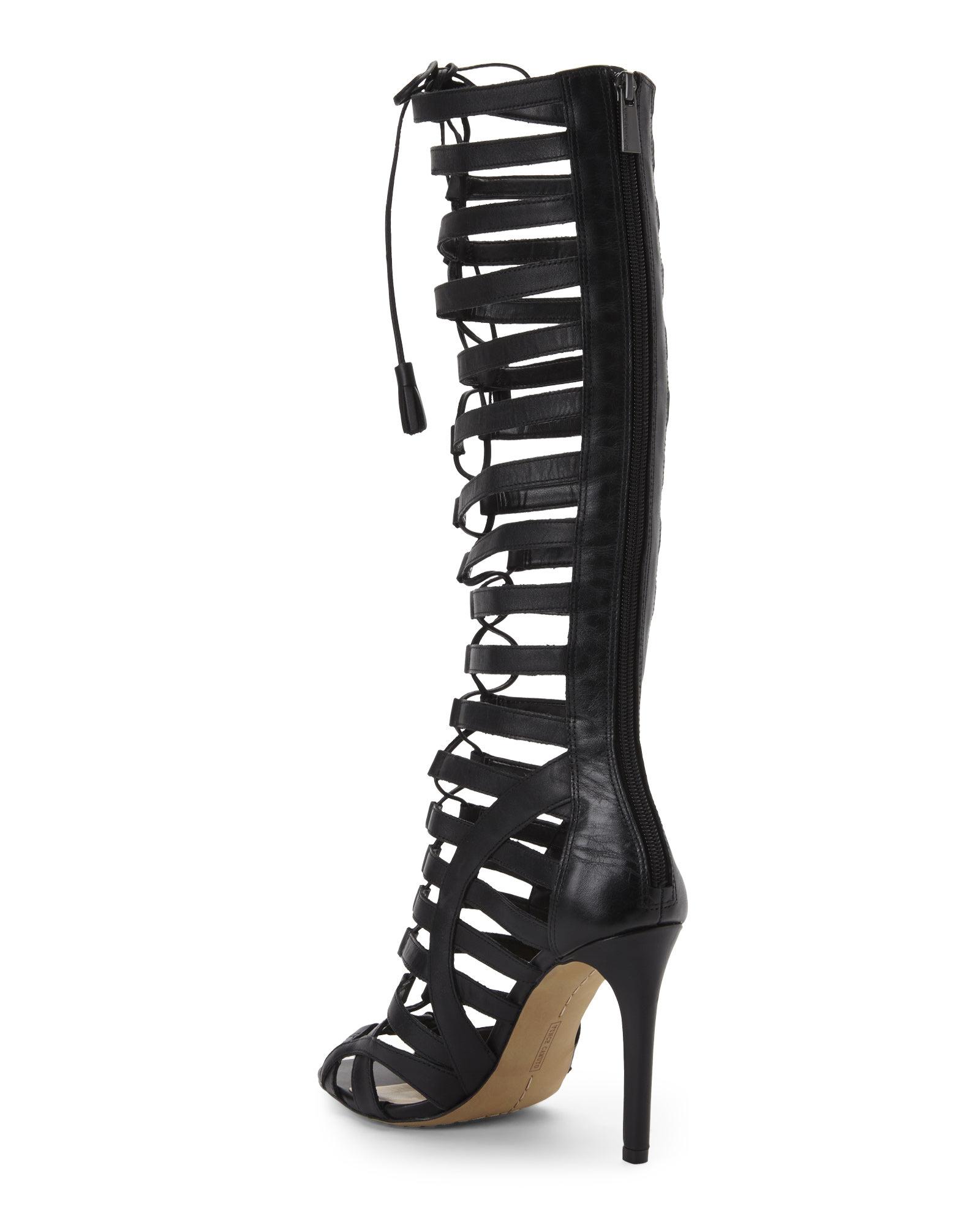 Vince Camuto Leather Black Olivian Gladiator Sandals Lyst