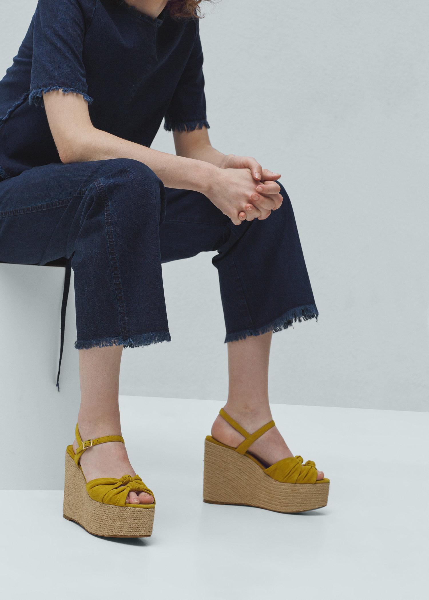 5a8258c93c7 Mango Yellow Platform Leather Sandals