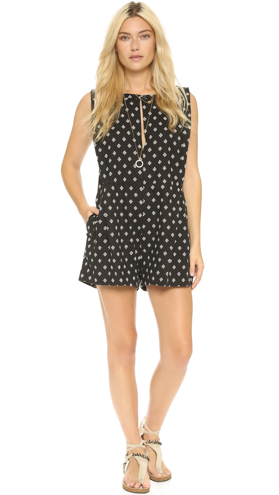 123f9aac22f9 Free People Ashley Print Linen Blend Romper in Black - Lyst
