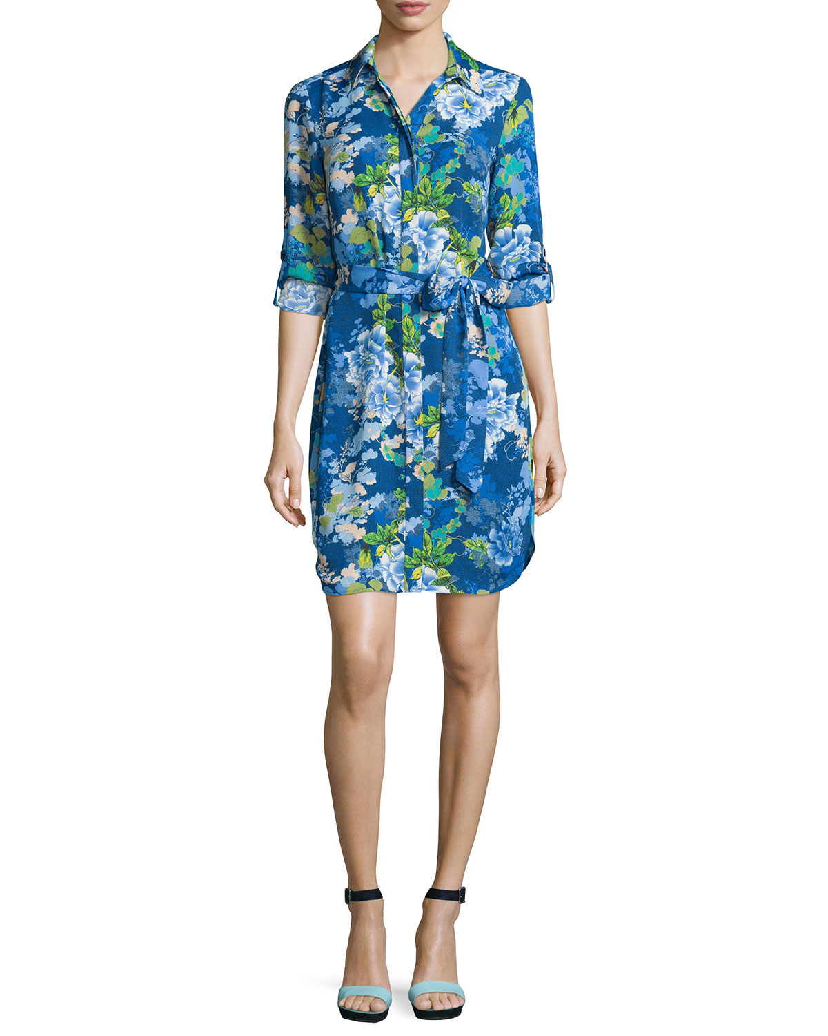 Lyst - Laundry By Shelli Segal Belted Floral Long-sleeve Shirtdress ...