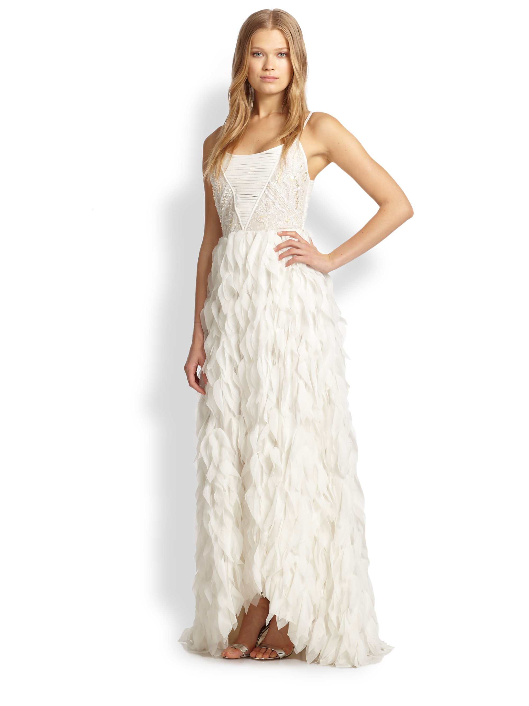 Lyst - Alice + Olivia Eaddy Embroidered Feather Gown in White