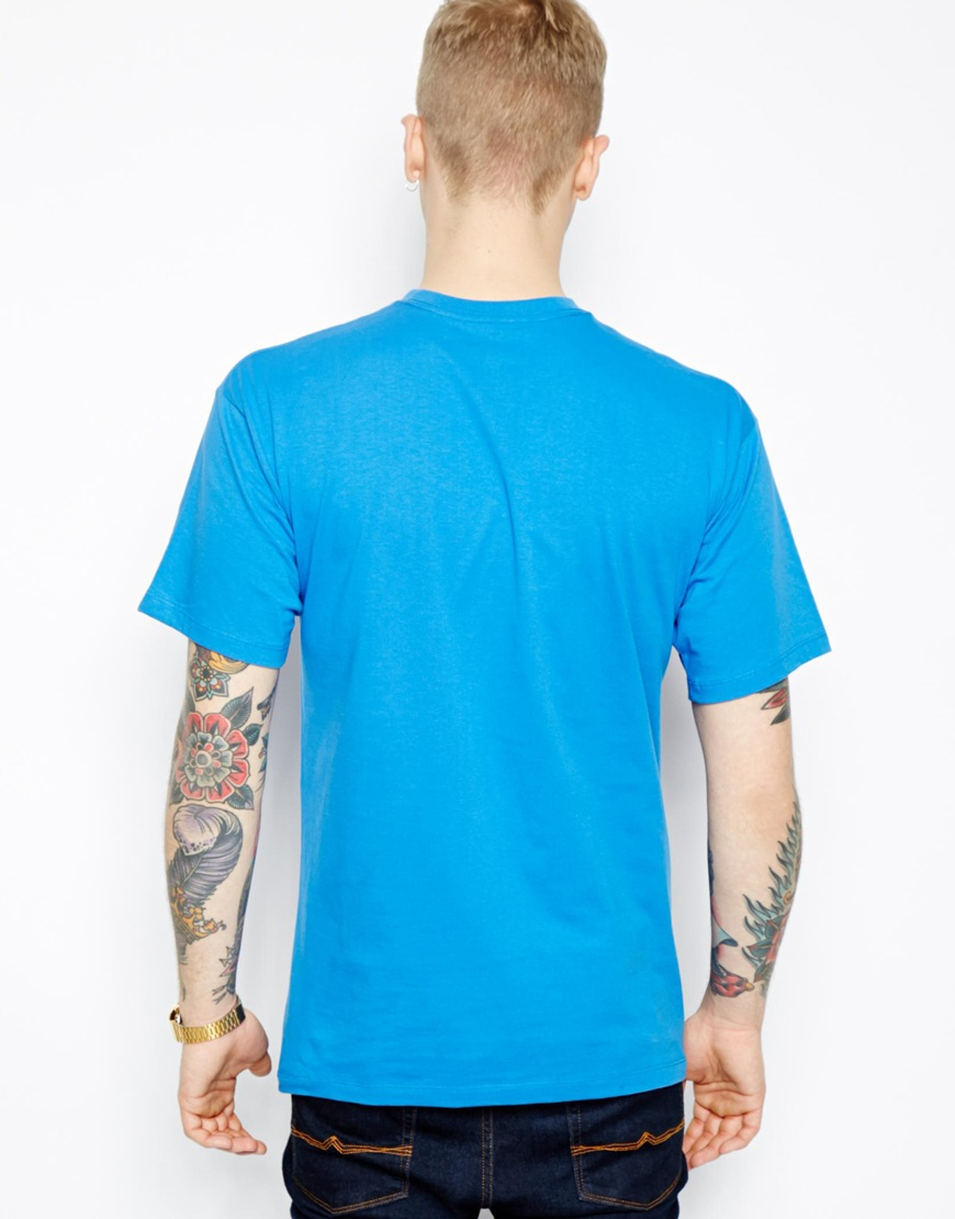 vans tshirt with classic logo in blue for men lyst